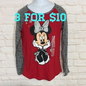 NWT Minnie Mouse graphic long sleeve shirt 10/12